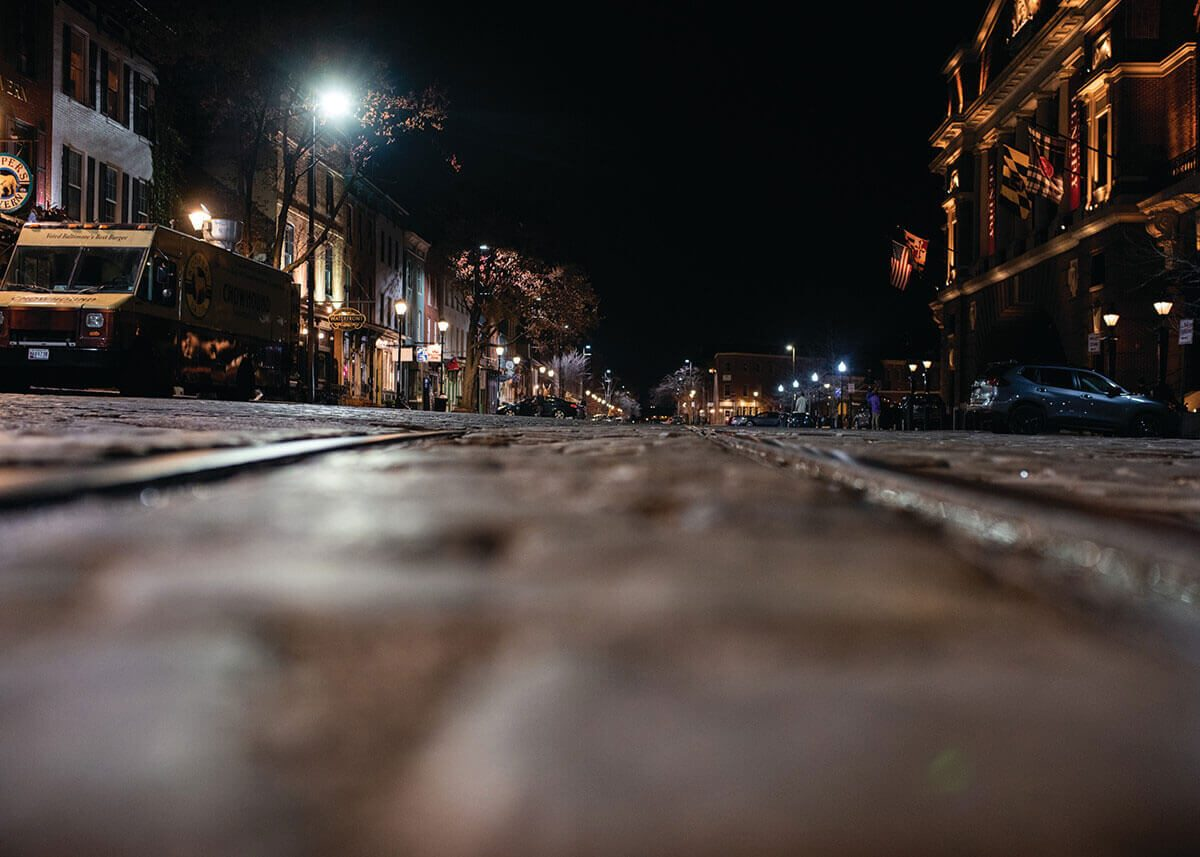 A picture of an An Empty Thames Street in Fells Point.
