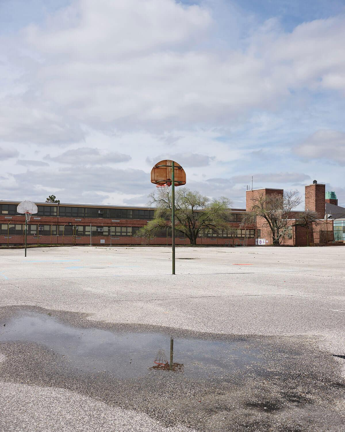 A picture of the empty school grounds at City Springs Elementary/ Middle School in East Baltimore.