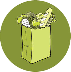 An illustration of a bag of groceries.