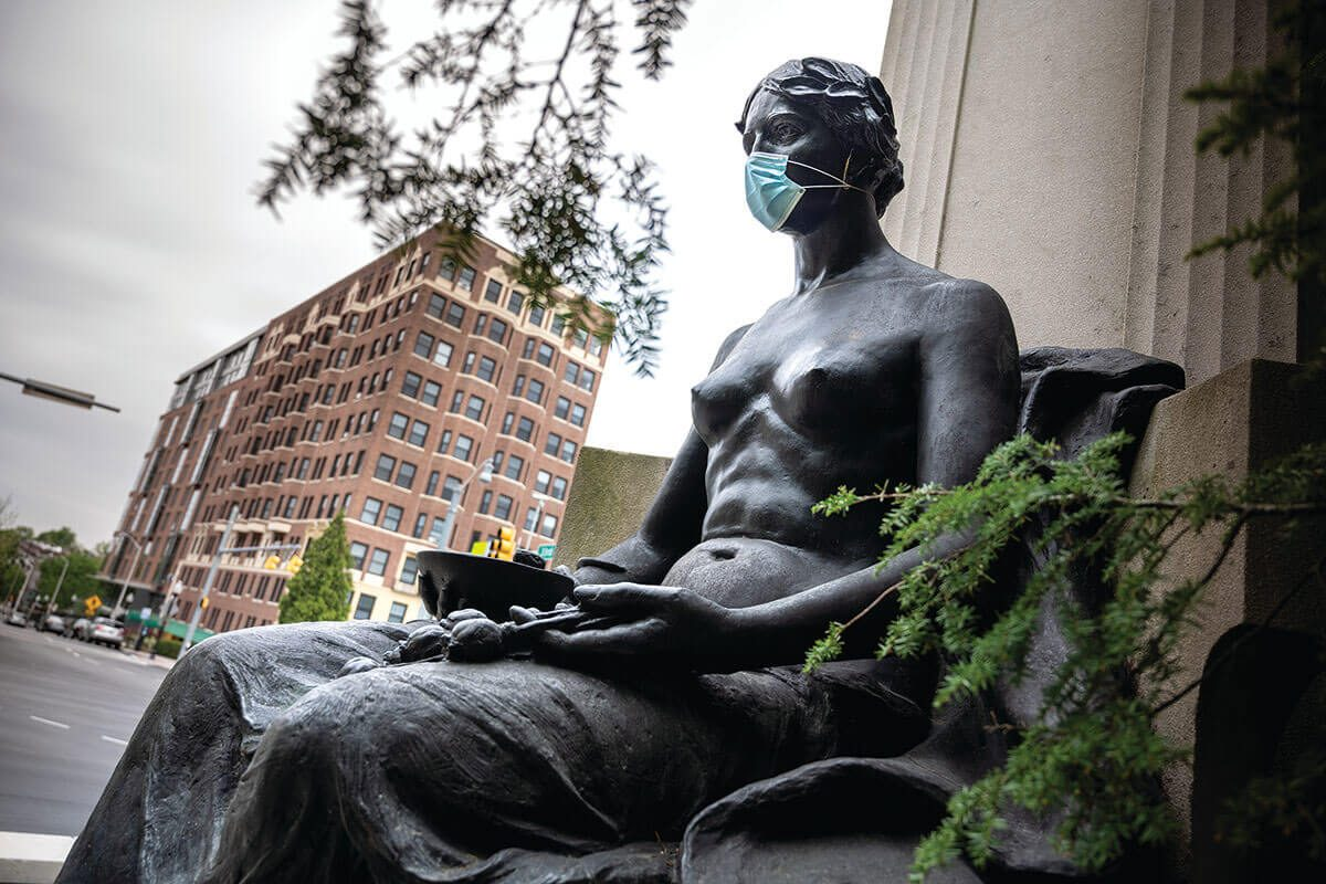 A picture of a Masked Monument at Johns Hopkins University.