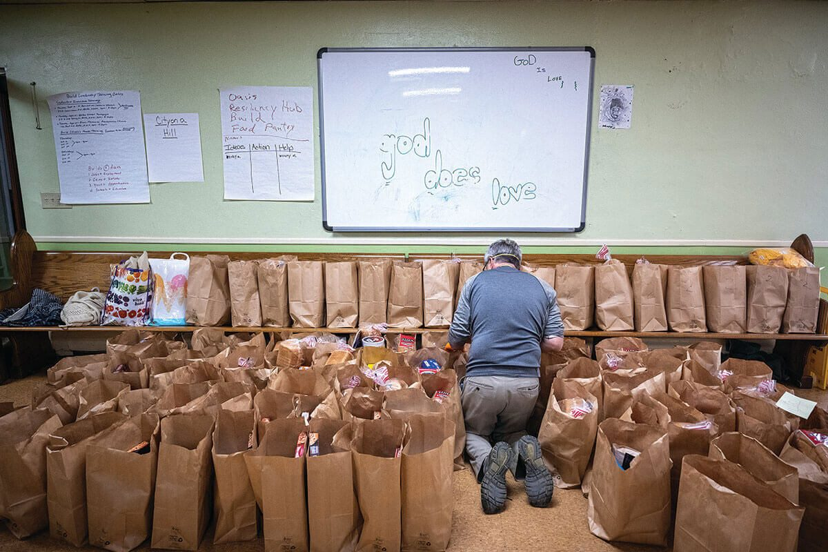 A picture Food Drive Preparation at the Stillmeadow Community Fellowship in Southwest Baltimore.
