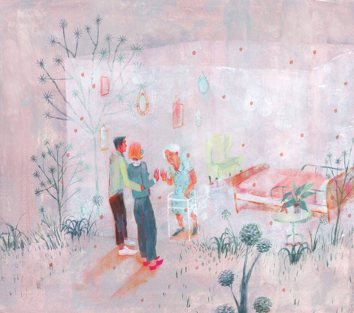 An illustration of a couple visiting their elderly family member with a clear wall separating them.