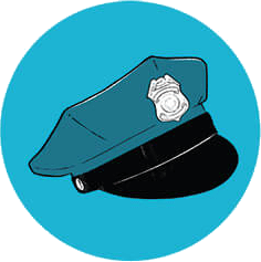 An illustration of a police hat.