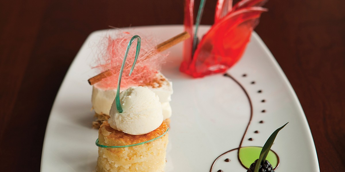 Spun sugar dresses up desserts at Ouzo Bay.Photography by Ryan Lavine