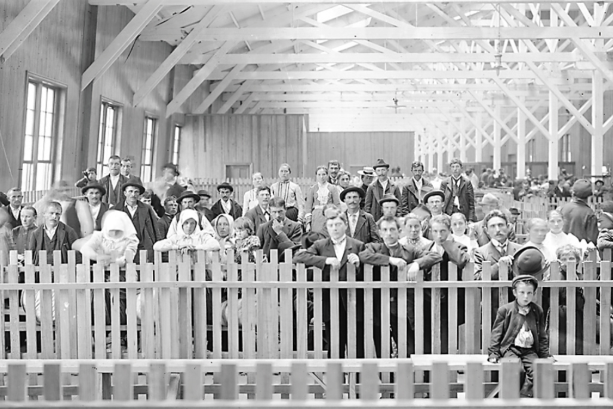 Immigrants arriving at Locust Point's immigration piers in the early 1900s.Courtesy of the Maryland Historical Society