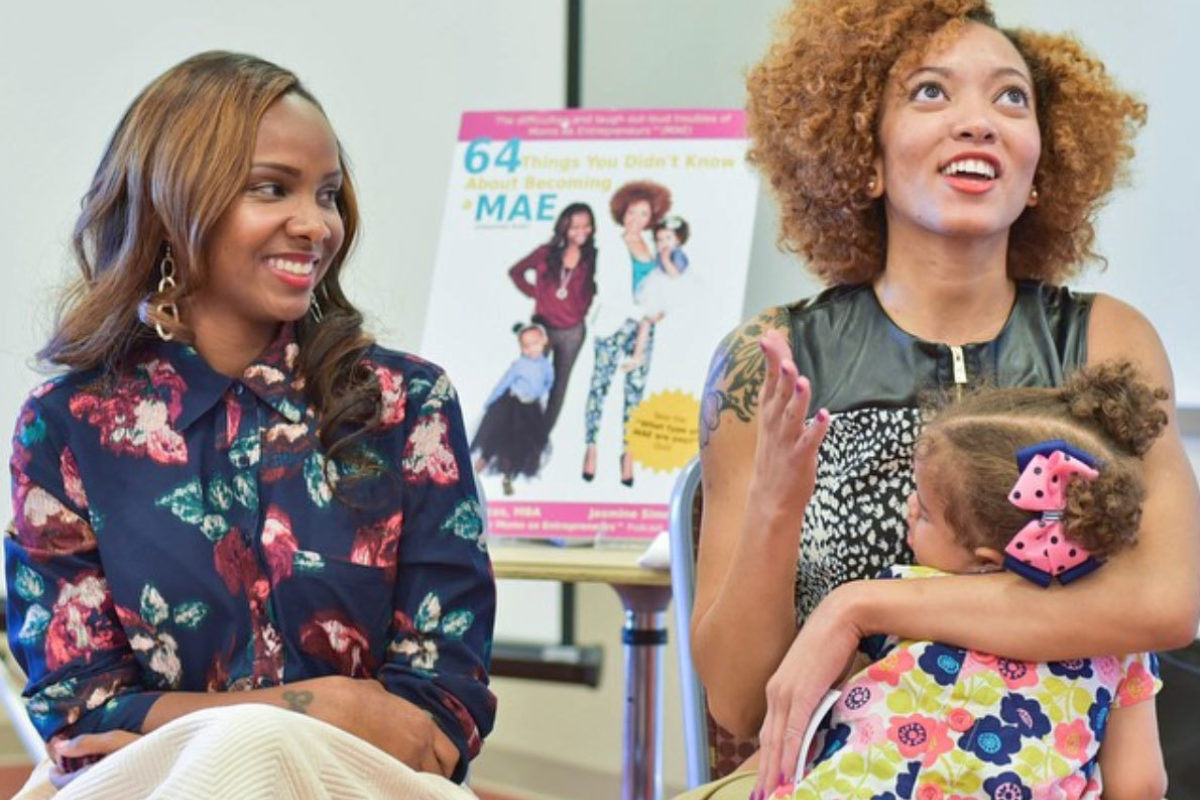 Tammira Lucas and Jasmine Simms (with daughter) at Morgan State University Women's ConferenceMoms As Entrepreneurs
