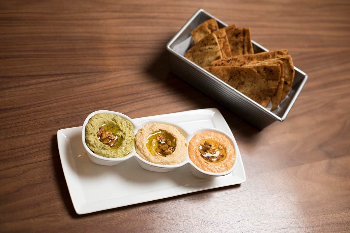 Hummus trio with pita chips.Christopher Myers