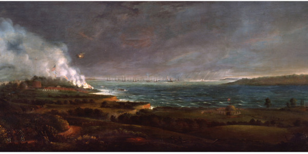 Bombardment of Fort McHenry, c. 1828-1830, oil on canvas, by Alfred Jacob Miller.Maryland Historical Society