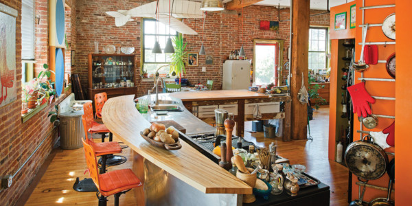 Wood beams that once secured factory machinery now do duty as a kitchen countertop.Vince Lupo