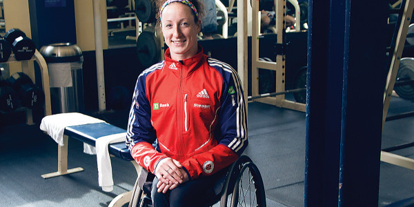 Tatyana McFadden trains for the Paralympics at a Columbia facility.  Photography by Sean Scheidt