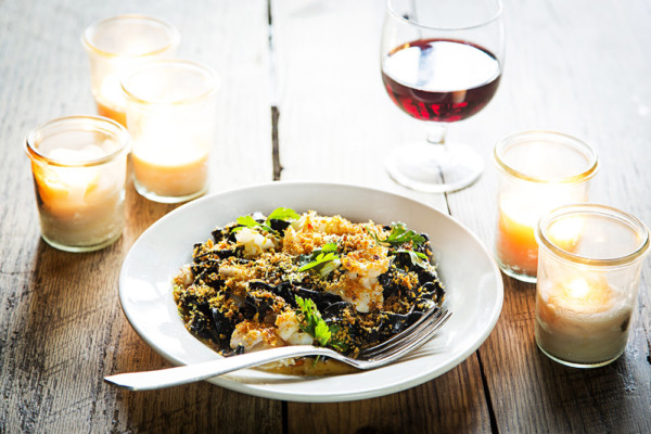 Squid-ink tagliatelle.Photography by Scott Suchman