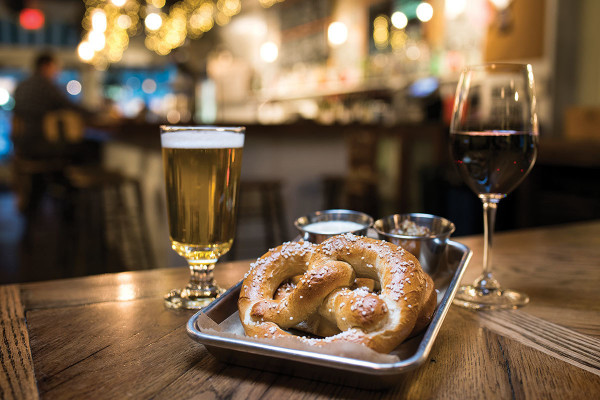 The soft pretzel platter and drinks.Christopher Myers