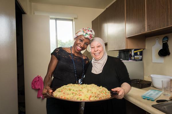 Liliane Makole, left, and Iman Alshehab.Mike Morgan
