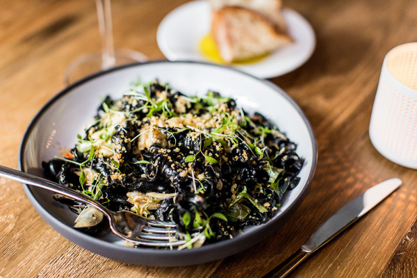 Squid ink pasta with sea urchin.Justin Tsucalas