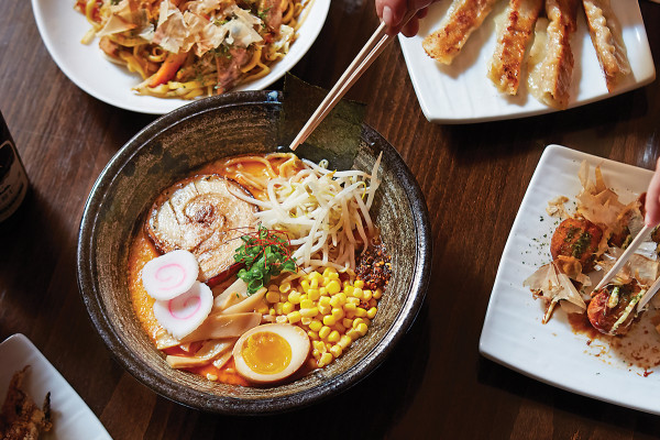 TenTen spread, with tonkotsu ramen. Photography by Ryan Lavine