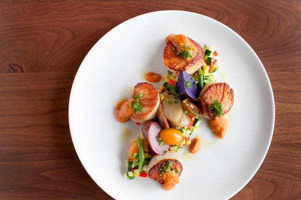 Pan-seared scallops with succotash. Photography by Jennifer Hughes