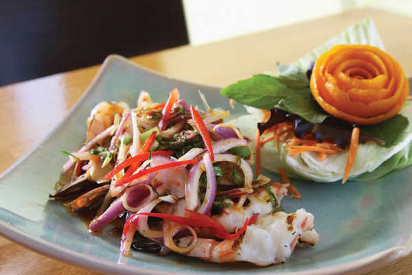 A spicy shrimp salad gets dinner off to a good start at Lemongrass.Photo by Stacy Zarin