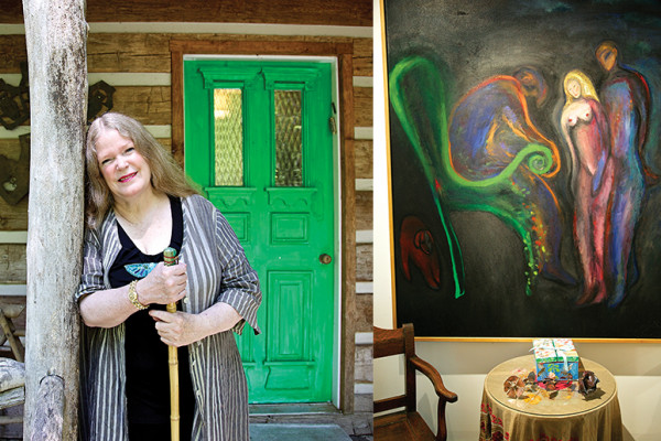 """Hoffberger leans against a support for her front porch, which she revamped with a nod to her love of nature; In the den, the first painting Hoffberger ever bought—by Martha Macks—hangs above two antique """"potty chairs."""" Photography by Cory Donovan"""