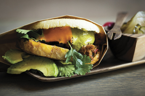 La Nacional arepa: Shredded beef, plantains, slow-cooked black beans, and cilantro.Photography by Scott Suchman