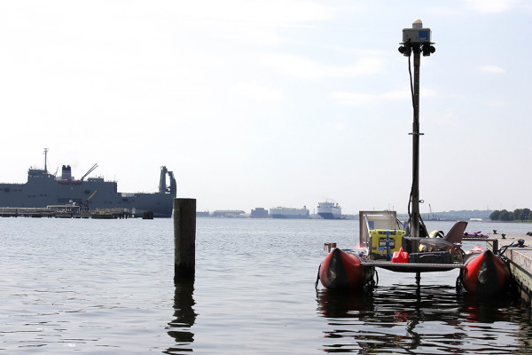 Chesapeake Conservancy's pontoon boat sits at Canton Waterfront dock.Photography by Meredith Herzing