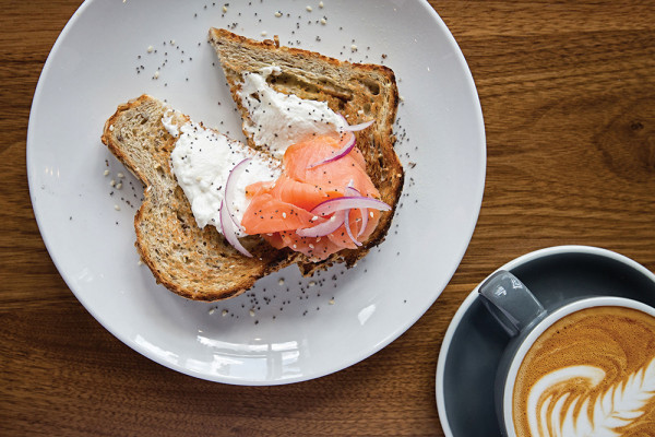 Smoked salmon toast and a cappuccino.Scott Suchman