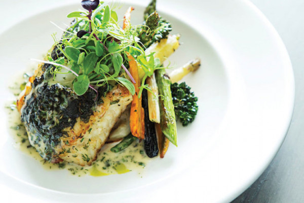 Herbed and seared Chilean sea bass.Photography by Scott Suchman