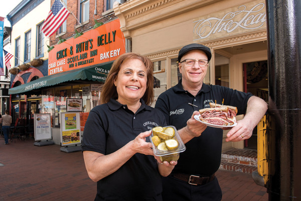 Chick and Ruth Levitt pose outside their restaurant in Annapolis.Photography by Mike Morgan