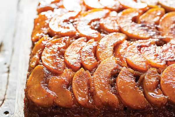 Peach upside-down cake at Dovecote Cafe.Photography by Scott Suchman