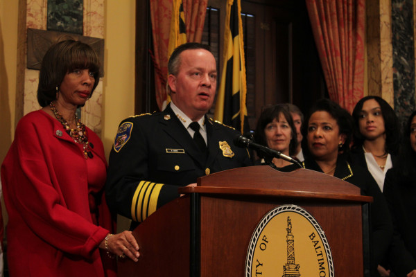 Mayor Catherine Pugh and Kevin Davis at the consent decree press conference.Meredith Herzing