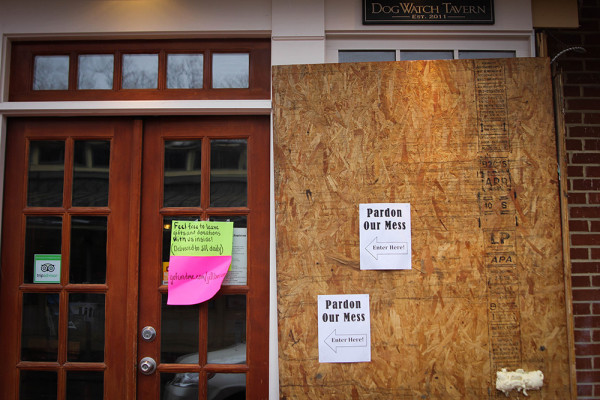 DogWatch Tavern's exterior damage.Meredith Herzing