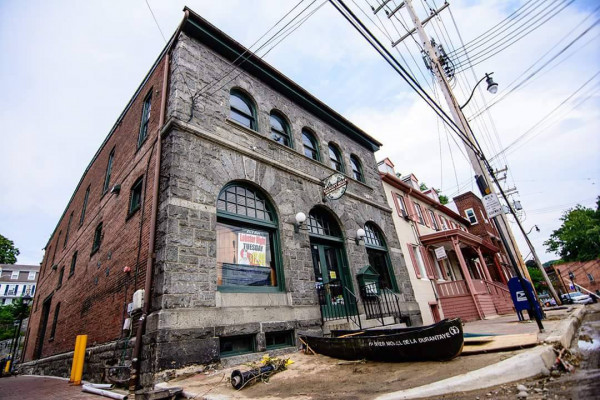 The exterior of Ellicott Mills Brewing Co. the day after the flood.Photography by Timmy Kendzierski