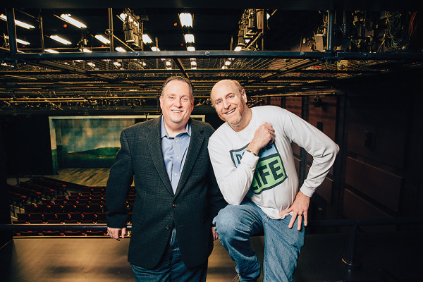 Vincent Lancisi, left, and Jay Herzog pose inside Baltimore's Everyman Theatre.Photography by Brian Schneider