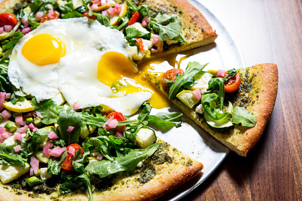 The Farmer's Market pizza with sunny-side up eggs.Scott Suchman