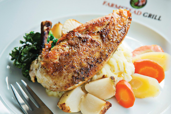 The slow-roasted chicken breast with a lavender-honey glaze.Photography by Scott Suchman
