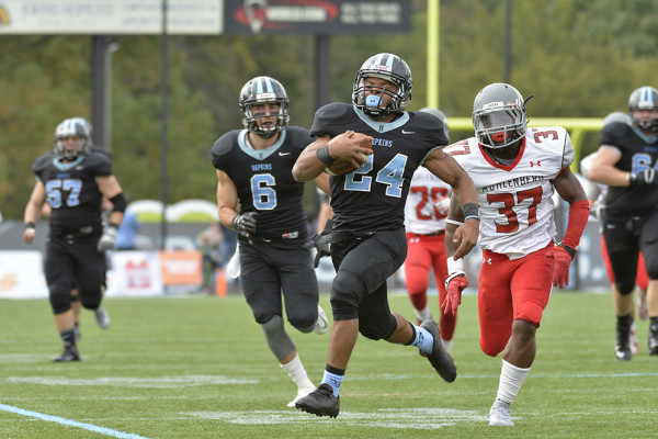 Hopkins running back Brandon Cherry has spearheaded an explosive ground game for the undefeated team.Courtesy of Johns Hopkins Athletics