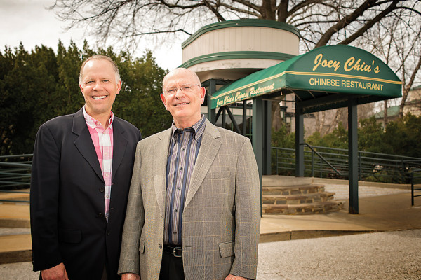 Ted Peddy, left, and his father, Tom, standing in front of the entrance to Joey Chiu's Chinese Restaurant at Green Spring Inn.Photography by Christopher Myers