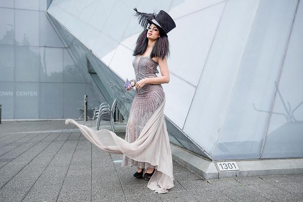 Dress: Vincent Licari. Hat: Ella Pritsker. Hair & Makeup: Charm City Top Knots. Photo by David Colwell