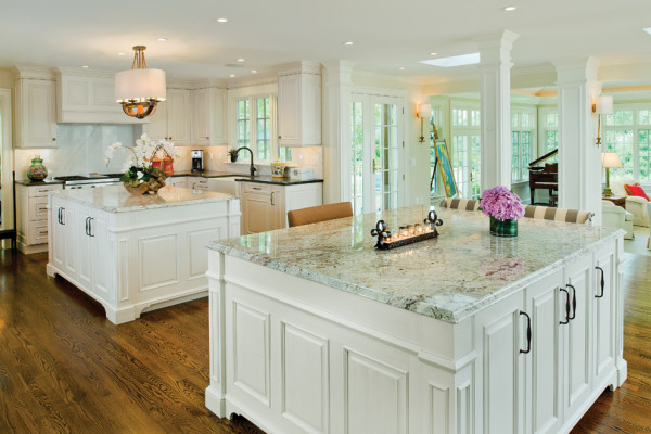 The Kelly's double-island kitchen was designed with entertaining and functionality in mind.Photography by Vince Lupo