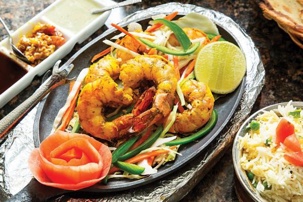 haldi jhinga grilled shrimp platter.Photography by Scott Suchman