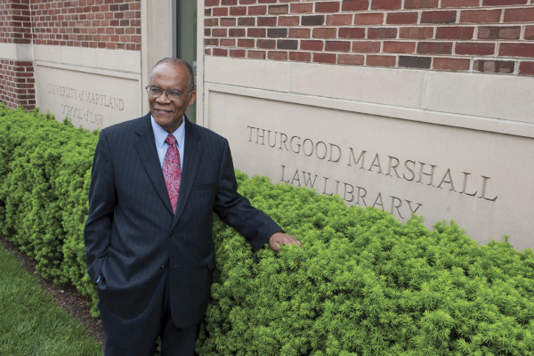 Professor Larry Gibson in front of the University of Maryland School of Law.Photography by David Colwell