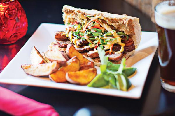 The banh-mi sandwich with pork belly.Photo by Scott Suchman