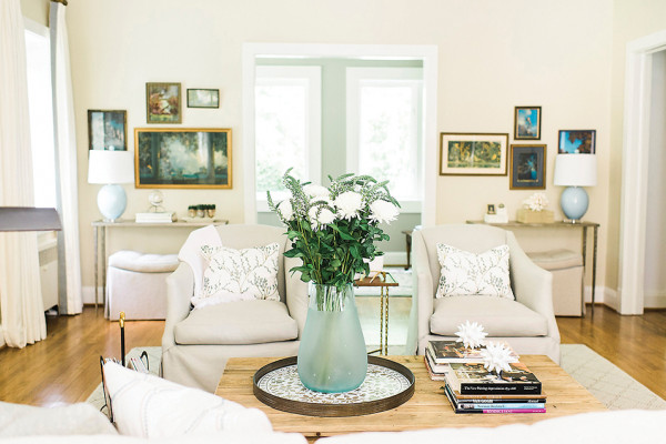 The Millers wanted the spaces to be comfortable and pretty while using a neutral palette.Photography by Krista A. Jones