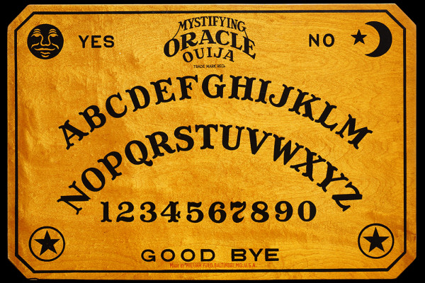 William Fuld's Ouija board design on a maple board, manufactured in Baltimore circa 1920.Photography courtesy of Robert Murch / Talking Board Historical Society