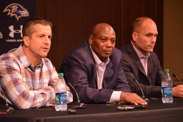 John Harbaugh, Ozzie Newsome, and Eric DeCostaBaltimore Ravens