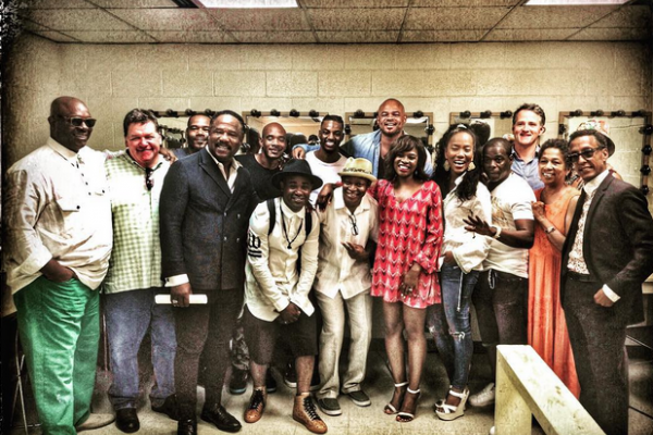 The Wire cast poses for a group photo backstage at the Lyric.Courtesy of Anthony Hemingway