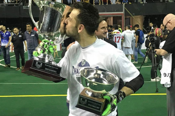 Baltimore Blast Goalkeeper William Vanzela with Ron Newman Cup and MVP trophyInstagram