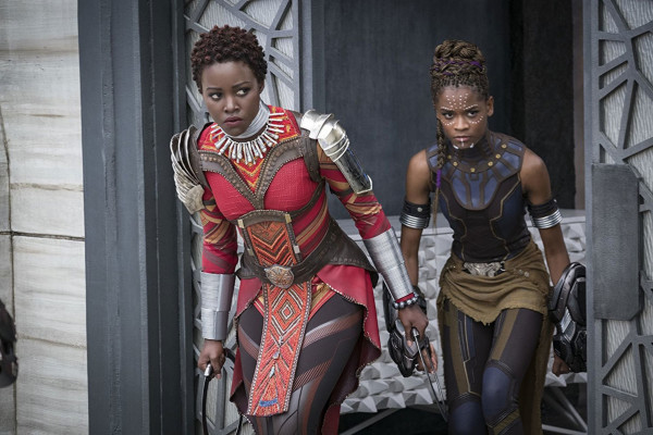 Lupita Nyong'o as Nakia and Letitia Wright as ShuriWalt Disney Pictures