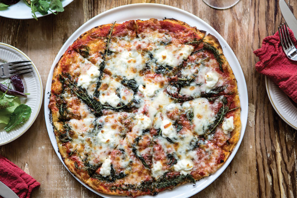 Say cheese: the Farmer's Pizza featuring local vegetables.Photo by Ryan Lavine