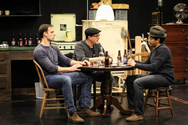 Actors (from left) Danny Gavigan, Bruce Nelson, and Arturo Tolentino rehearse A Streetcar Named Desire for Everyman's Great American Rep.Photo by Meredith Herzing