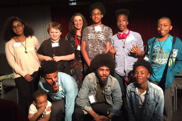 Devin Allen, center bottom, with middle school students from Windsor Hills.Courtesy of Arts Every Day